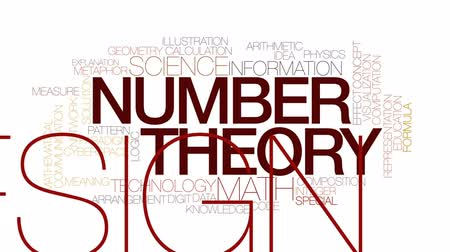 aritmética : Number theory animated word cloud, text design animation. Kinetic typography.