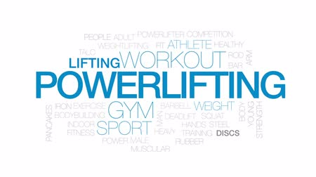 powerlifter : Powerlifting animated word cloud, text design animation. Kinetic typography. Stock Footage