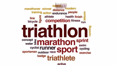 ziellinie : Triathlon animierte Wortwolke, Textdesignanimation. Videos