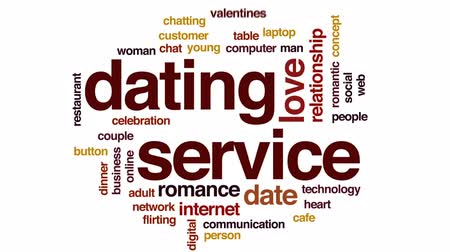 dates : Dating service animated word cloud, text design animation. Stock Footage