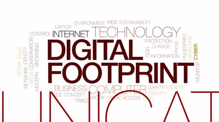 следы : Digital footprint animated word cloud, text design animation. Kinetic typography.