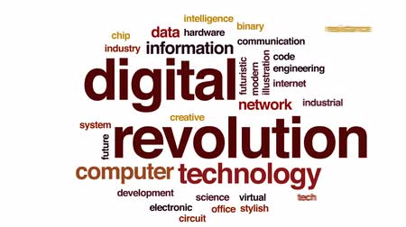 şematik : Digital revolution animated word cloud, text design animation.