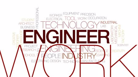 access : Engineer animated word cloud, text design animation. Kinetic typography.