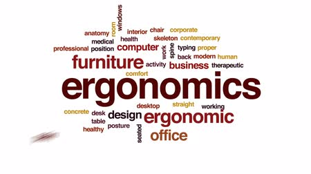 штамм : Ergonomics animated word cloud, text design animation.