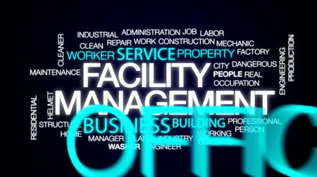 cleaner : Facility management animated word cloud, text design animation. Stock Footage