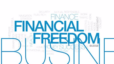 motivasyonel : Financial freedom animated word cloud, text design animation. Kinetic typography.