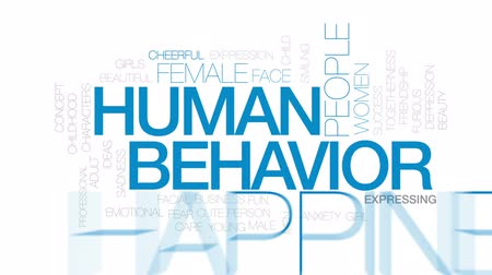 preocupar se : Human behavior animated word cloud, text design animation. Kinetic typography. Vídeos