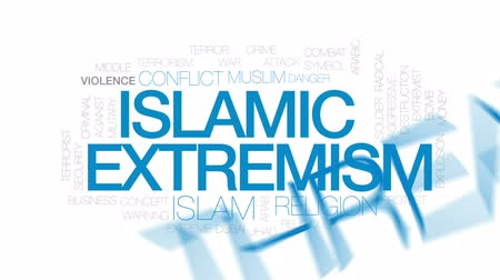 proti : Islamic extremism animated word cloud, text design animation. Kinetic typography.