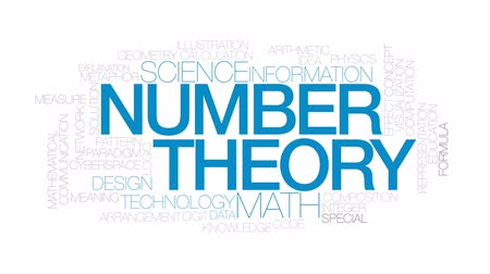 вычислять : Number theory animated word cloud, text design animation. Kinetic typography.