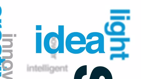 invenção : Smart bulb animated word cloud, text design animation.