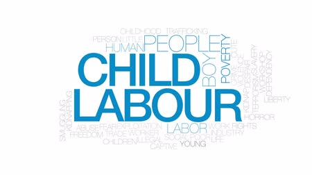 abuso : Child labour animated word cloud, text design animation.  Kinetic typography.