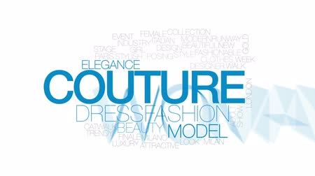 milan fashion : Couture animated word cloud, text design animation.  Kinetic typography. Stock Footage