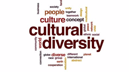 multikulturális : Cultural diversity design animated word cloud, text design animation.