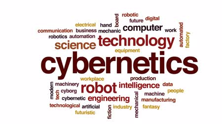 tecnológica : Cybernetics animated word cloud, text design animation.