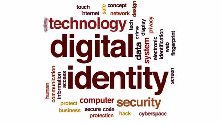 senha : Digital identity animated word cloud, text design animation.