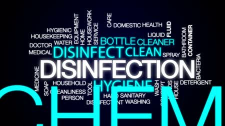 dezenfektan : Disinfection animated word cloud, text design animation.