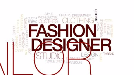 medir : Fashion designer animated word cloud, text design animation. Kinetic typography. Stock Footage