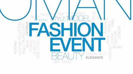 milan fashion : Fashion event animated word cloud, text design animation.  Kinetic typography.