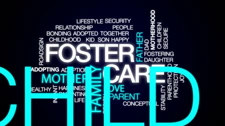 foster : Foster care word cloud, text design animation. Stock Footage