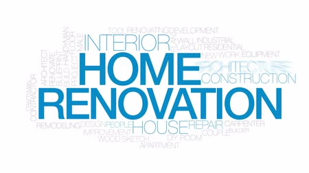 blueprint : Home renovation animated word cloud, text design animation.  Kinetic typography. Stock Footage