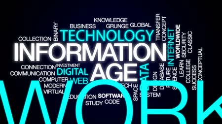 idade média : Information age animated word cloud, text design animation. Stock Footage