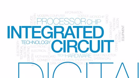polovodič : Integrated circuit architecture animated word cloud, text design animation.  Kinetic typography.