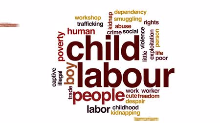книгопечатание : Child labour animated word cloud, text design animation.
