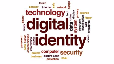 fingerprints : Digital identity animated word cloud, text design animation.