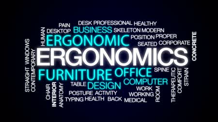 ergonomic : Ergonomics animated word cloud, text design animation.
