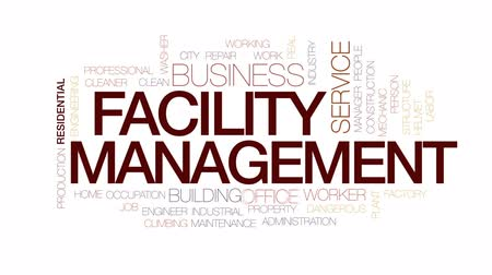 urząd pracy : Facility management animated word cloud, text design animation. Kinetic typography.