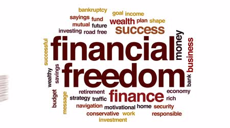 conservative : Financial freedom animated word cloud, text design animation.