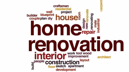 trabalhador manual : Home renovation animated word cloud, text design animation.