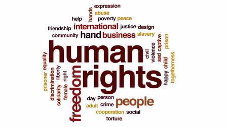 haklar : Human rights animated word cloud, text design animation. Stok Video