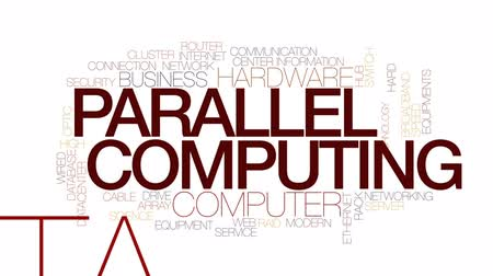 banda larga : Parallel computing animated word cloud, text design animation. Kinetic typography.