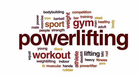 powerlifter : Powerlifting animated word cloud, text design animation. Stock Footage