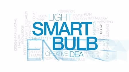 innowacje : Smart bulb animated word cloud, text design animation. Kinetic typography.