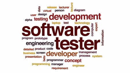 tester : Software tester animated word cloud, text design animation.