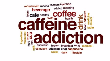 addiktív : Caffeine addiction animated word cloud, text design animation.