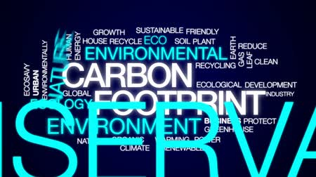 следы : Carbon footprint animated word cloud, text design animation. Стоковые видеозаписи
