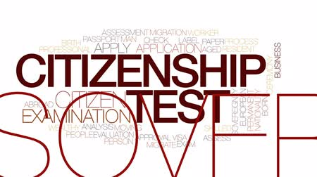 assess : Citizenship test animated word cloud, text design animation. Kinetic typography.
