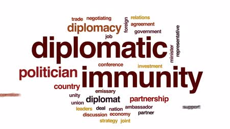 representante : Diplomatic immunity animated word cloud, text design animation. Vídeos