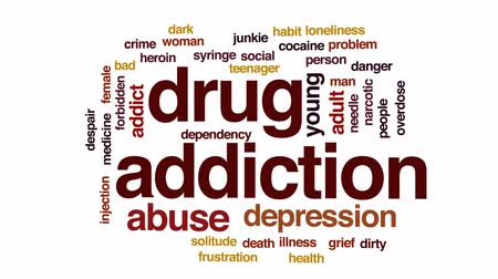 abuso : Drug addiction animated word cloud, text design animation.