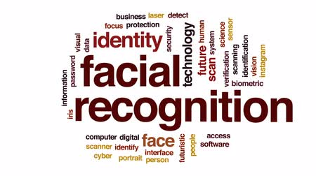 uznání : Facial recognition animated word cloud, text design animation.