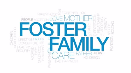 foster : Foster family animated word cloud, text design animation. Kinetic typography.