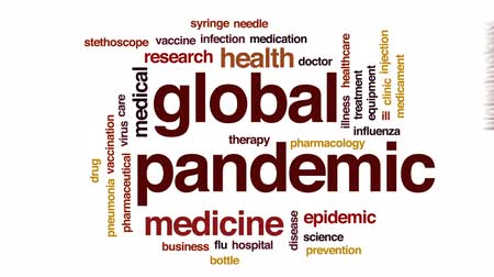 шприц : Global pandemic animated word cloud, text design animation. Стоковые видеозаписи