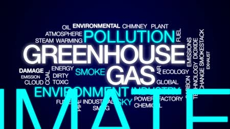 skleník : Greenhouse gas animated word cloud, text design animation.