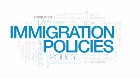 göçmen : Immigration policies animated word cloud, text design animation. Kinetic typography.