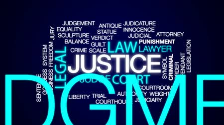 judiciary : Justice animated word cloud, text design animation. Stock Footage