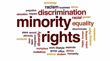 zmysłowy : Minority rights animated word cloud, text design animation.