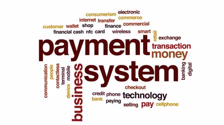 payment terminal : Payment system animated word cloud, text design animation. Stock Footage